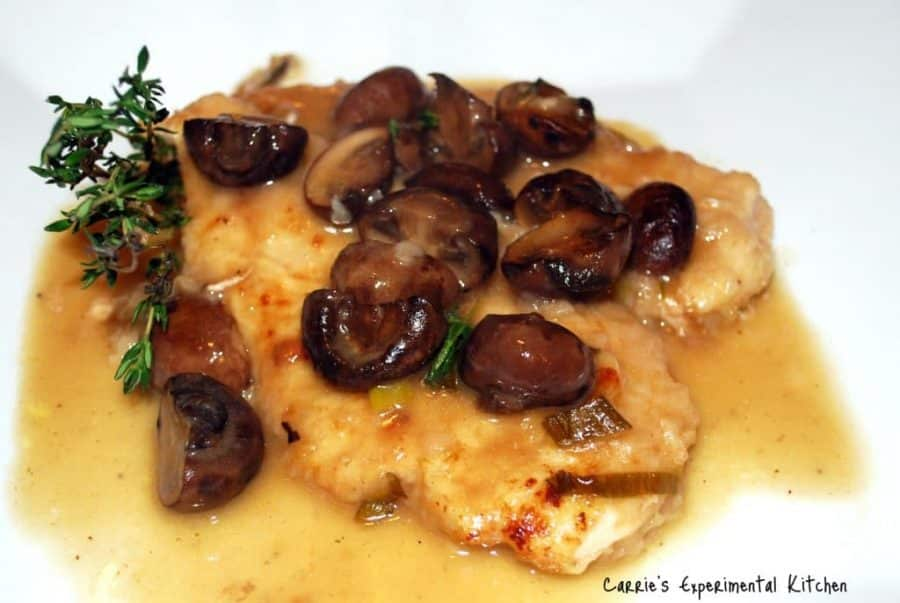 Champagne Chicken with Baby Portobello Mushrooms