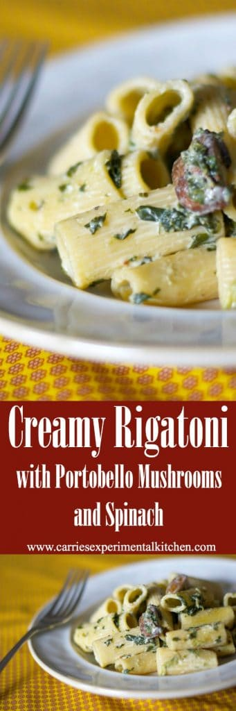 Are you looking for a quick and easy weeknight meal? This meatless recipe for Creamy Rigatoni with Portobello Mushrooms and Spinach is perfect!