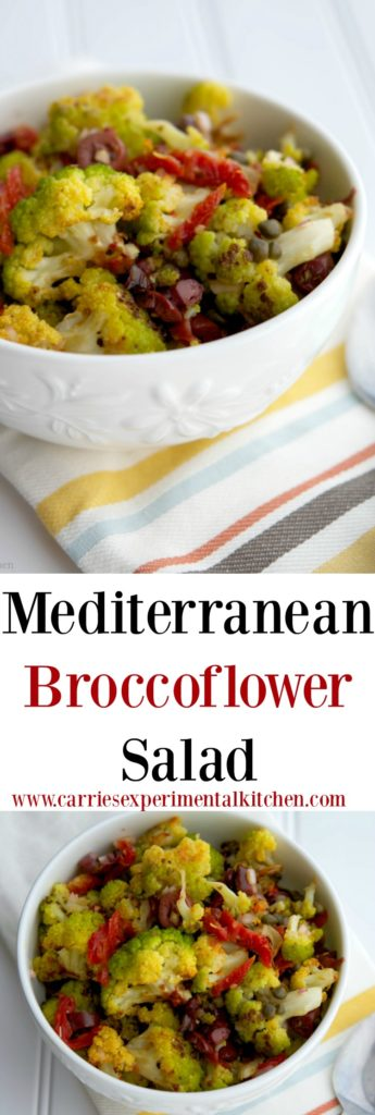 This Mediterranean Broccoflower Salad made with sun dried tomatoes, capers, Kalamata olives, fresh oregano, and lemon juice is not only gorgeous in color, but also flavorful.