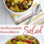This Mediterranean Broccoflower Salad made with sun dried tomatoes, capers, Kalamata olives, fresh oregano & lemon juice is deliciously flavorful.