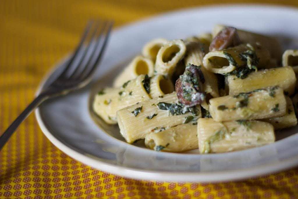 Rigatoni with Portobello Mushrooms & Spinach