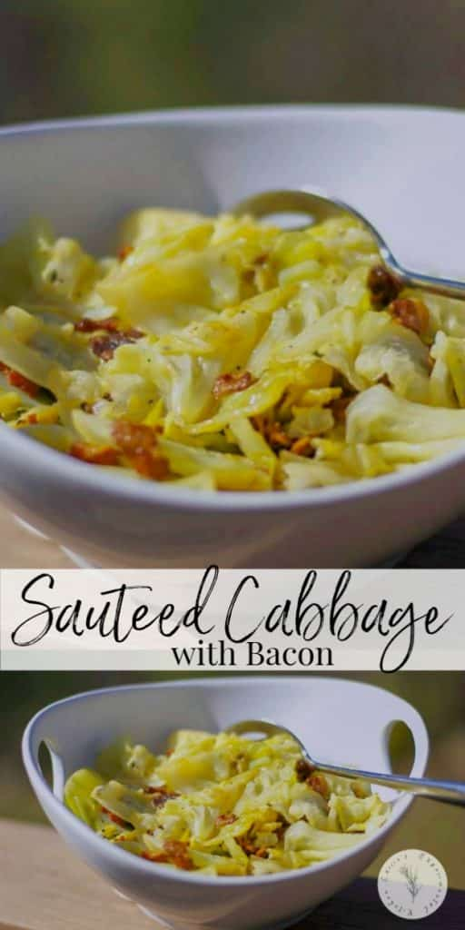 This recipe made with sautéed cabbage, bacon, fresh thyme and white wine is delicious and makes a tasty vegetable side dish.