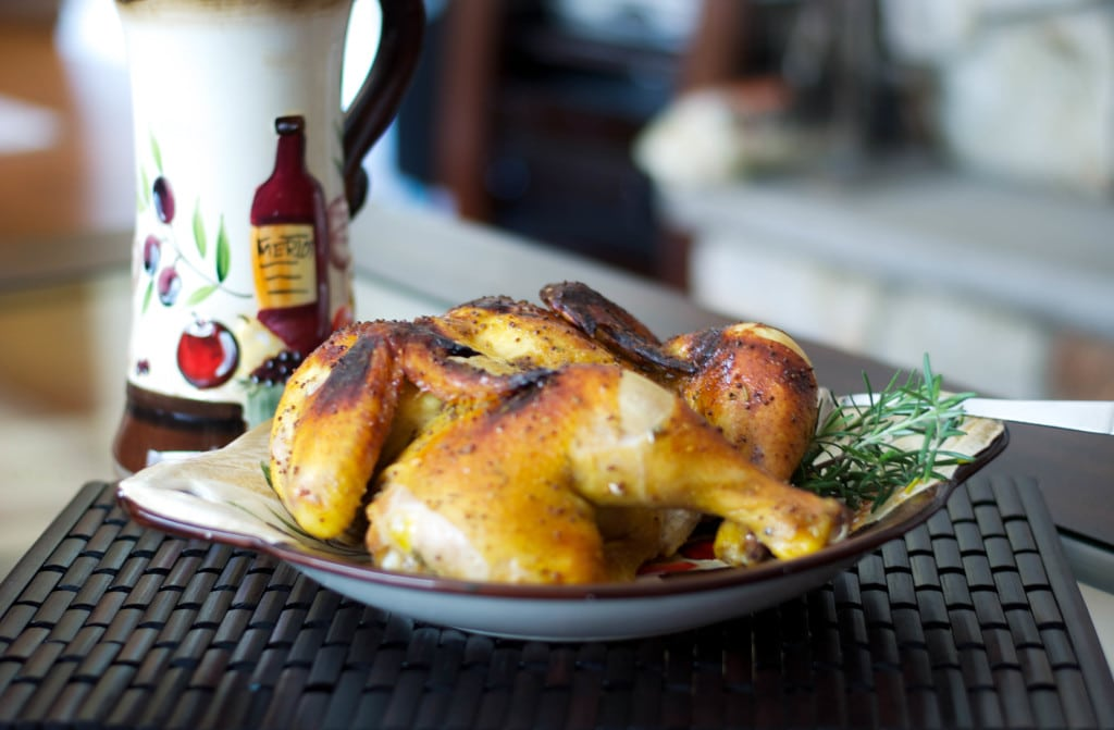 Spatchcocked Honey Mustard Roasted Chicken