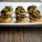 Basil Pecan Pesto Stuffed Mushrooms