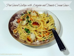 pan seared scallops with linguine title