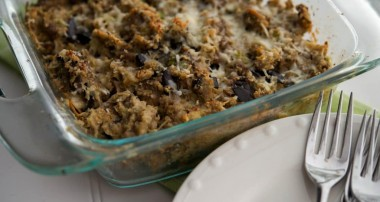 Turkey Sausage & Roasted Eggplant Casserole