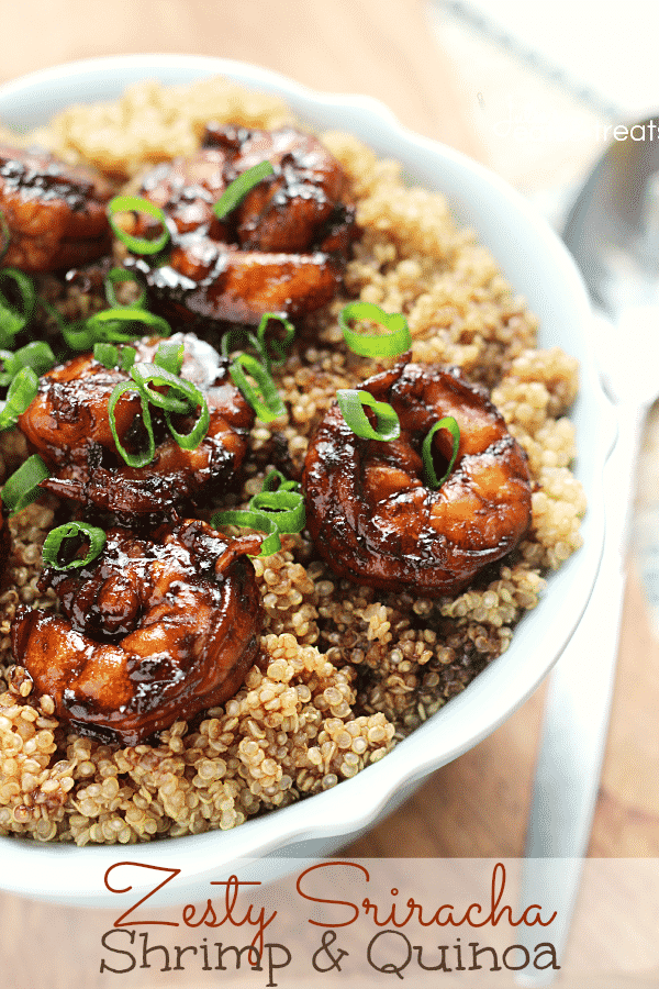 zesty sriracha shrimp and quinoa