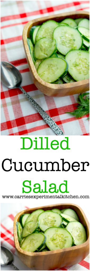 Dill Cucumber Salad made with fresh garden cucumbers, fresh dill, distilled white vinegar and oil is a deliciously light summertime salad.