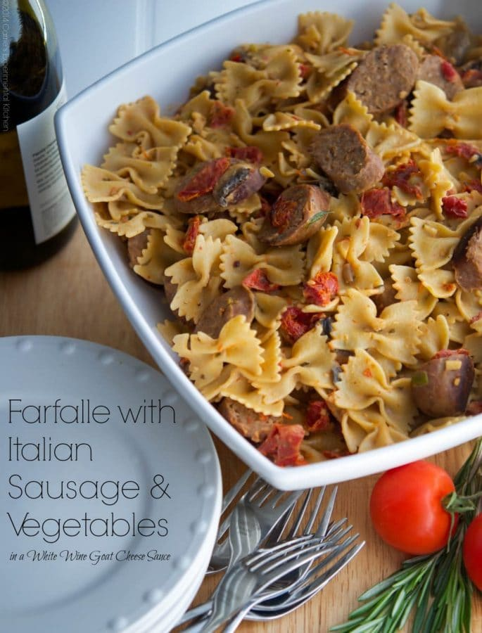 Farfalle with Italian Sausage and Vegetables in a White Wine Goat Cheese Sauce | CarriesExperimentalKitchen.com