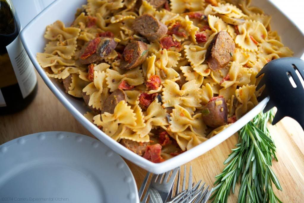 Farfalle with Italian Sausage in a White Wine Goat Cheese Sauce