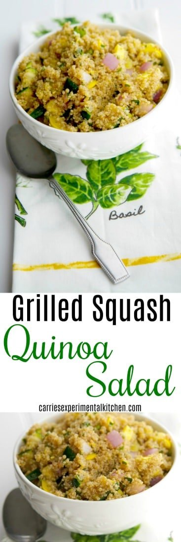 Grilled Squash Quinoa Salad is an incredibly light and delicious salad made with nutty quinoa, garden fresh yellow and green squash in a sweet and tangy aged balsamic vinaigrette. #salads #glutenfree #quinoa
