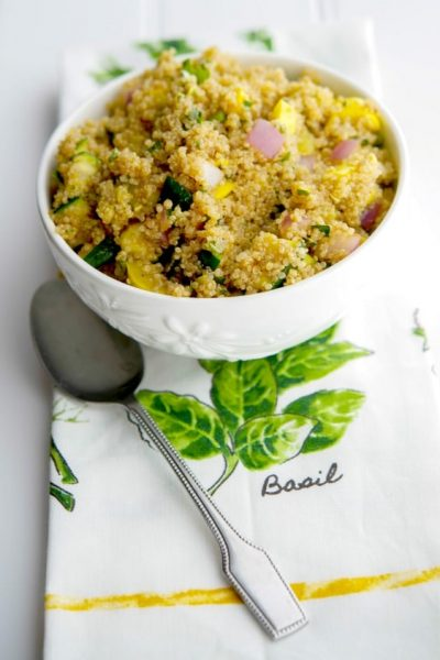 Grilled Squash Quinoa Salad is an incredibly light and delicious salad made with nutty quinoa, garden fresh yellow and green squash in a sweet and tangy aged balsamic vinaigrette.