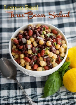 Lemon-Basil Three Bean Salad|Carrie'sExperimentalKitchen