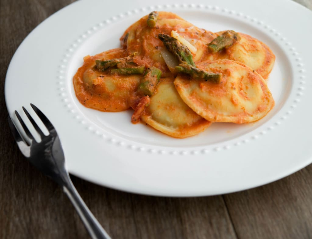 Ravioli with Asparagus in a Pink Cream Sauce
