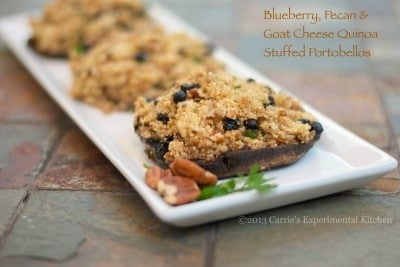blueberry pecan goat cheese quinoa stuffed portobellos-cek