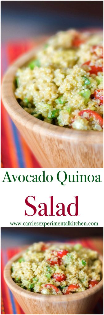 This healthy quinoa salad tossed with fresh avocado, garlic and tomatoes in a lime vinaigrette is light and deliciously filling.