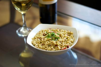 Basil Pearled Cous Cous Salad with Sun Dried Tomatoes