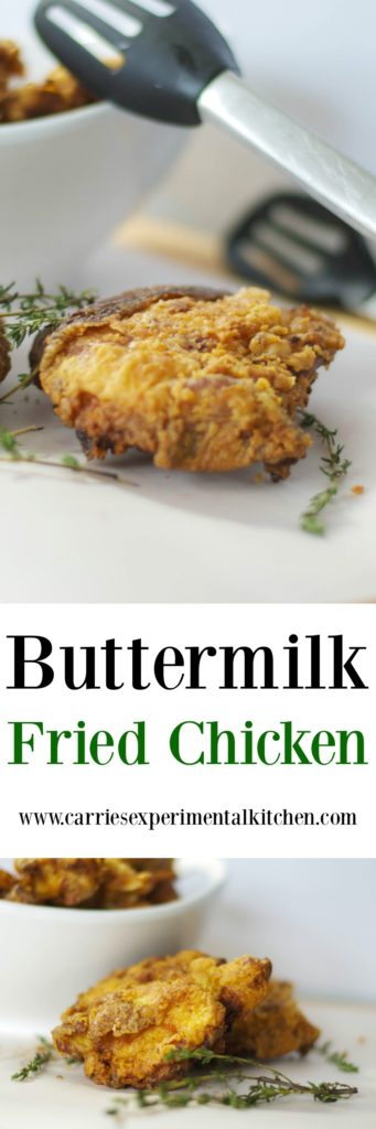 Buttermilk Fried Chicken made with bone-in chicken thighs that are soaked in buttermilk; then dipped in flour and herbs and fried until crispy and golden brown.
