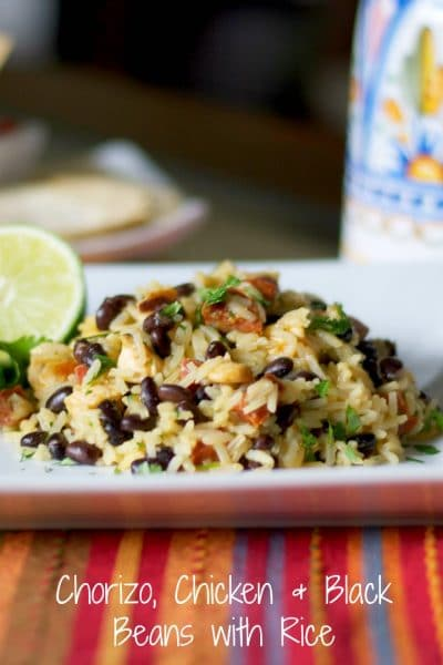 Spanish chorizo, boneless chicken, black beans and Jasmine rice combine with zesty lime and cilantro in this deliciously easy one pot meal.