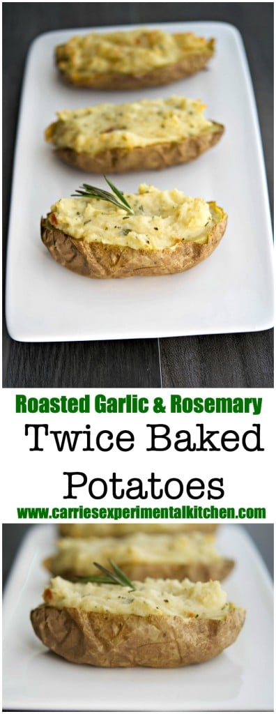 Roasted garlic combined with creamy mashed potatoes and rosemary stuffed back into the potato skins make a delicious side dish any day of the week.
