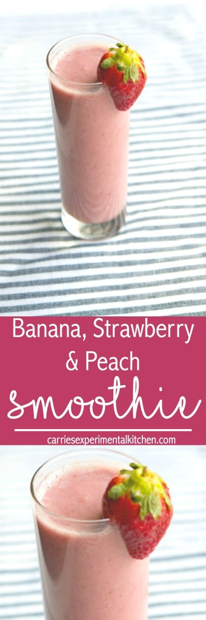 This healthy, fruit smoothie made with bananas, strawberries and peaches, help get you moving in the morning and is also perfect for an afternoon pick me up. #smoothie #banana #strawberry #peaches #breakfast