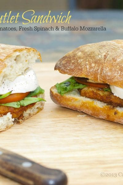 Chicken Cutlet Sandwich with Spinach, Tomatoes & Mozzarella