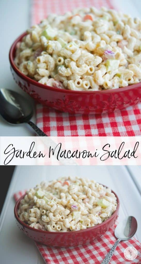 This Garden Macaroni Salad made with fresh tomatoes, cucumbers, celery, carrots and onions is super light and creamy; perfect for any gathering!
