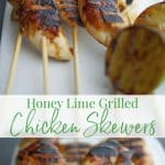 These three ingredient Honey-Lime Grilled Chicken Skewers are perfect for a quick weeknight meal or tasty appetizer or game day snack!