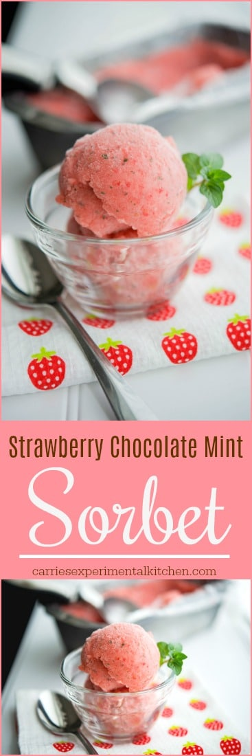 This sorbet made with fresh strawberries and chocolate mint leaves is deliciously refreshing. #sorbet #dairyfree #frozendesserts