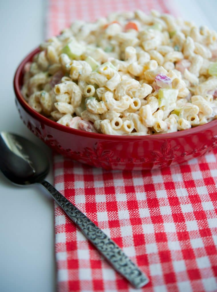 Garden Macaroni Salad made with fresh tomatoes, cucumbers, celery, carrots and onions is the perfect summer salad.