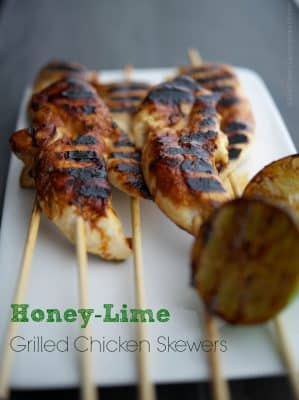 Honey-Lime Grilled Chicken Skewers These three ingredient Honey-Lime Grilled Chicken Skewers are perfect for a quick weeknight meal.