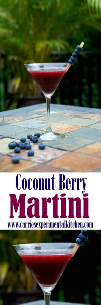 Unwind at your next cocktail party with this Coconut Berry Martini made with coconut rum, raspberry liquor and Chuck Blueberry cocktail juice found in the Hamptons Lane Cocktail Party Box.
