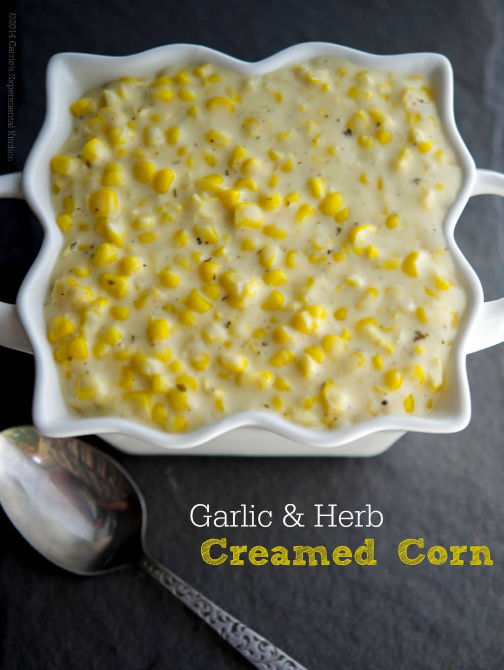Garlic & Herb Creamed Corn made with Alouette cheese and garden fresh corn on the cob.