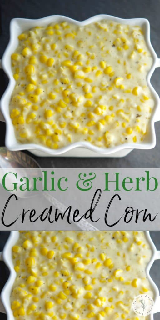 Garlic & Herb Creamed Corn made with Alouette cheese and garden fresh corn on the cob is deliciously flavorful making it the perfect side for any meal.