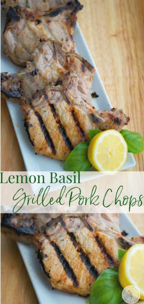 These pork chops marinated in a brine with fresh lemon juice and basil are deliciously light, flavorful and juicy. Use the brine on grilled chicken too!