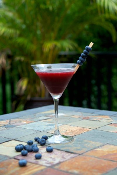 Coconut Berry Martini made with coconut rum, raspberry liquor and Chuck Blueberry cocktail juice.