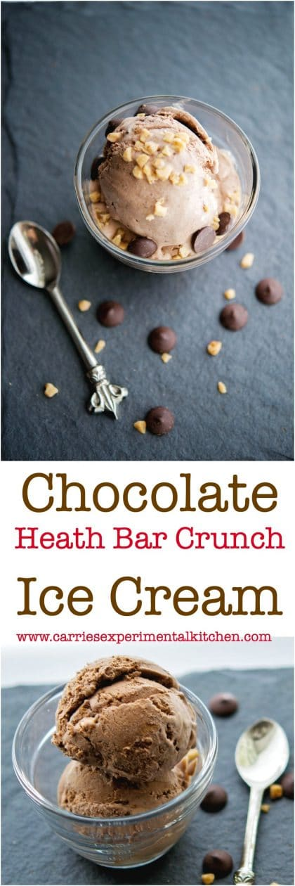 With a few simple ingredients like heavy cream, sugar, bittersweet chocolate & toffee bits, you can make this Chocolate Heath Bar Crunch Ice Cream at home. #desserts #icecream #chocolate