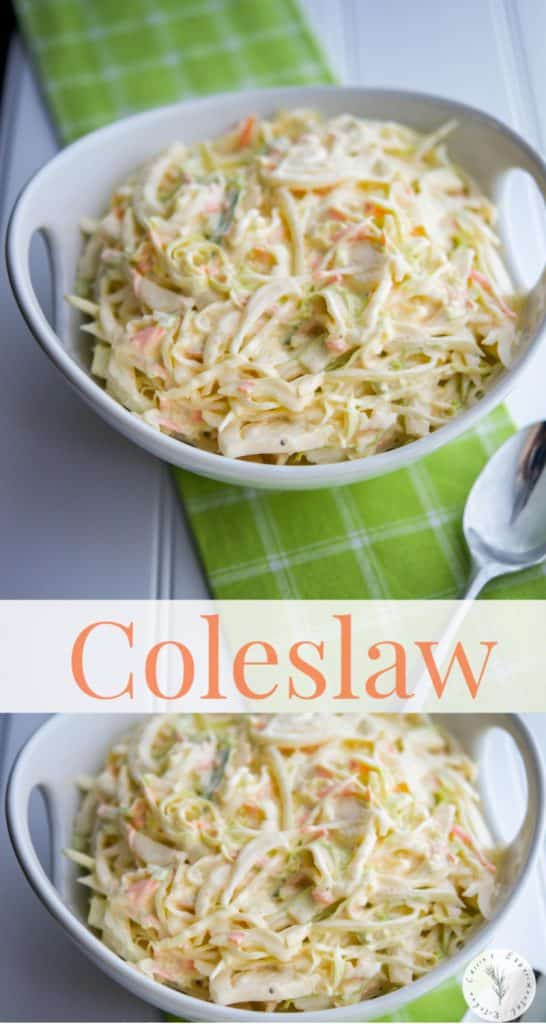 This Homemade Coleslaw made with cabbage, carrots and a creamy mayonnaise based dressing is easy to make and a must have for any get together.