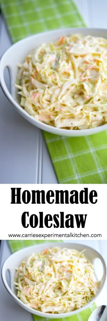 This Homemade Coleslaw recipe is creamy,  delicious and so simple to make. A definite crowd pleaser every summer!