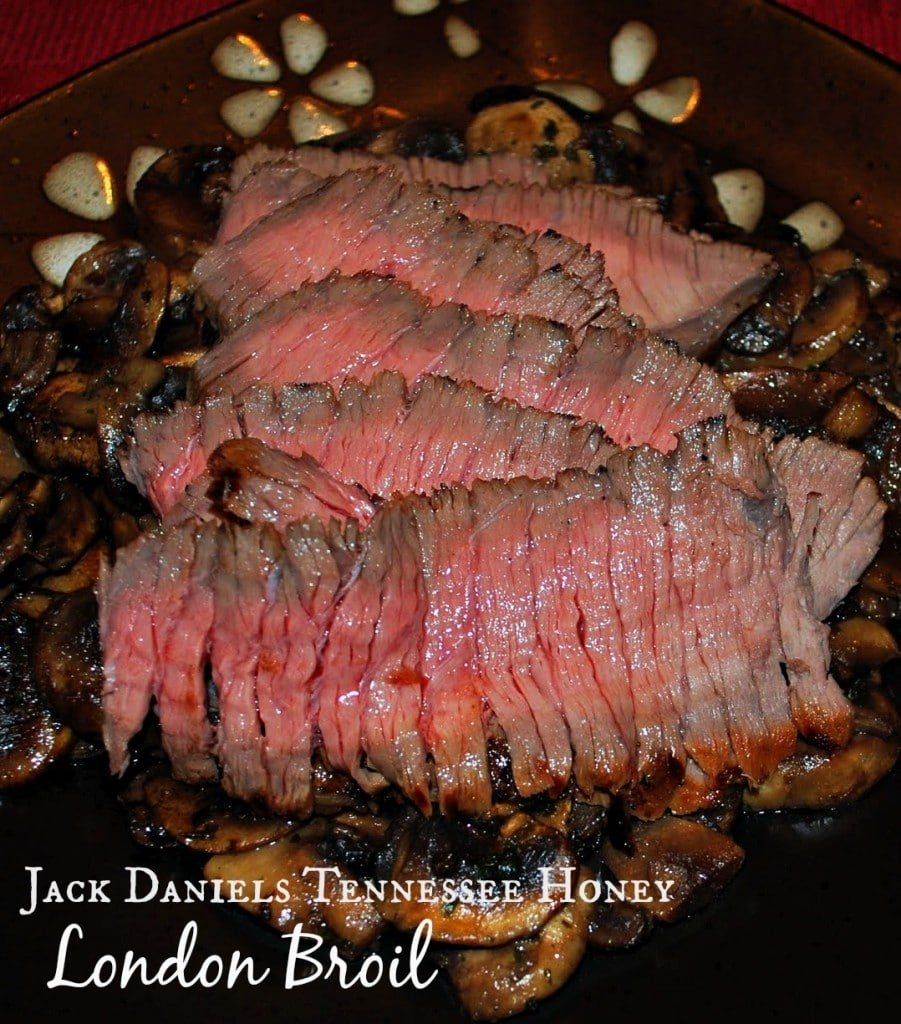 Beef London Broil marinated in Jack Daniels Tennessee Honey and spices; then grilled to perfection.