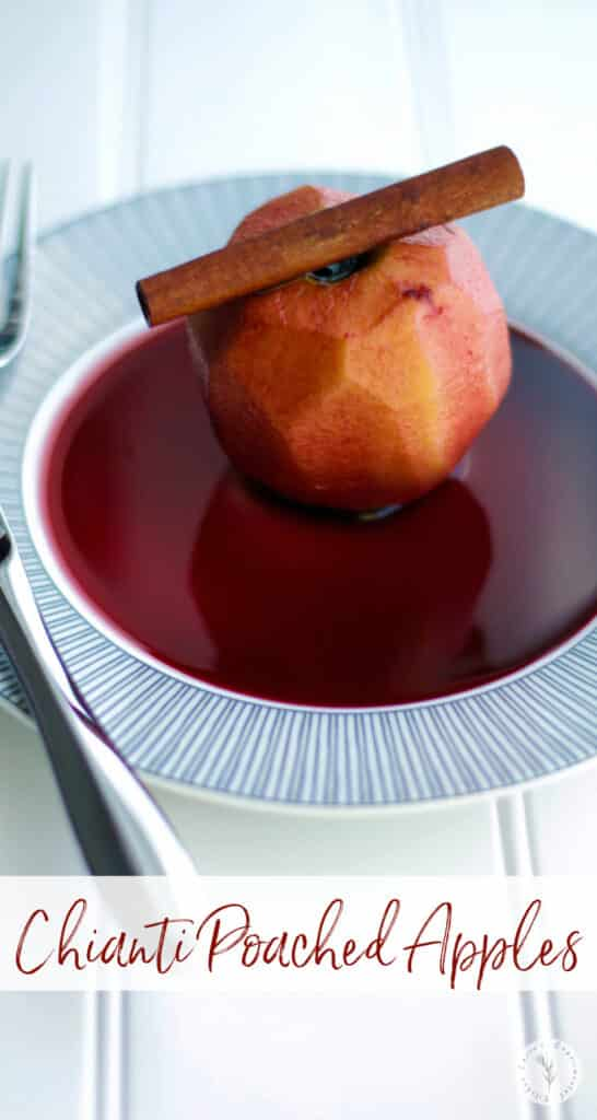 Cortland apples slowly poached in red wine Chianti, sugar, vanilla extract and cinnamon sticks make a tasty Fall dessert.
