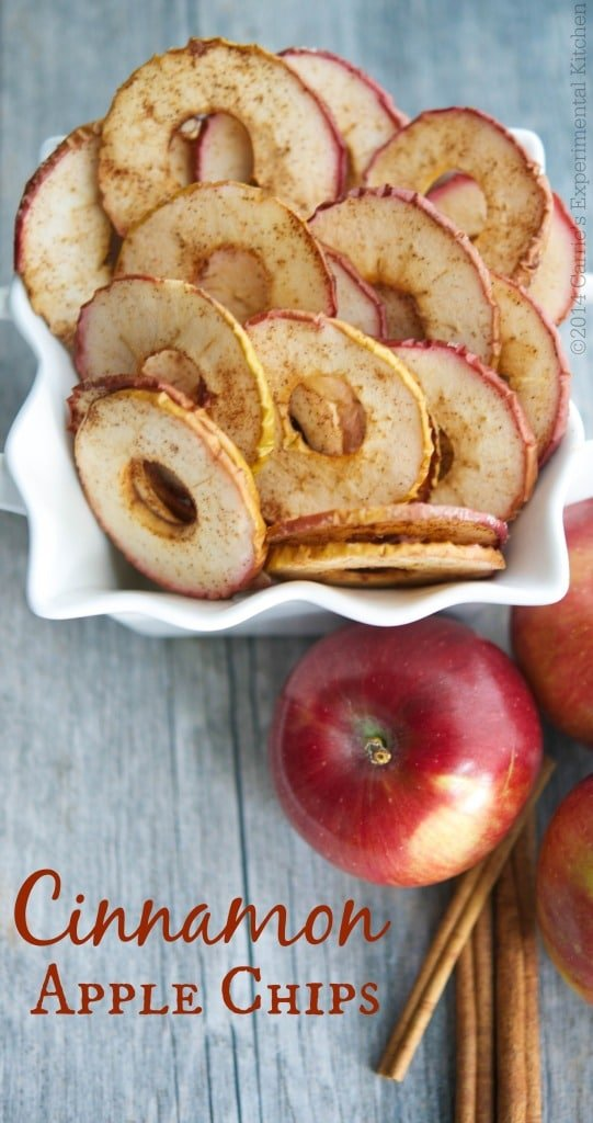 Cinnamon Apple Chips, made with a few simple ingredients like McIntosh apples, cinnamon and sugar are a healthy snack your whole family will love. #apples #healthy #snack