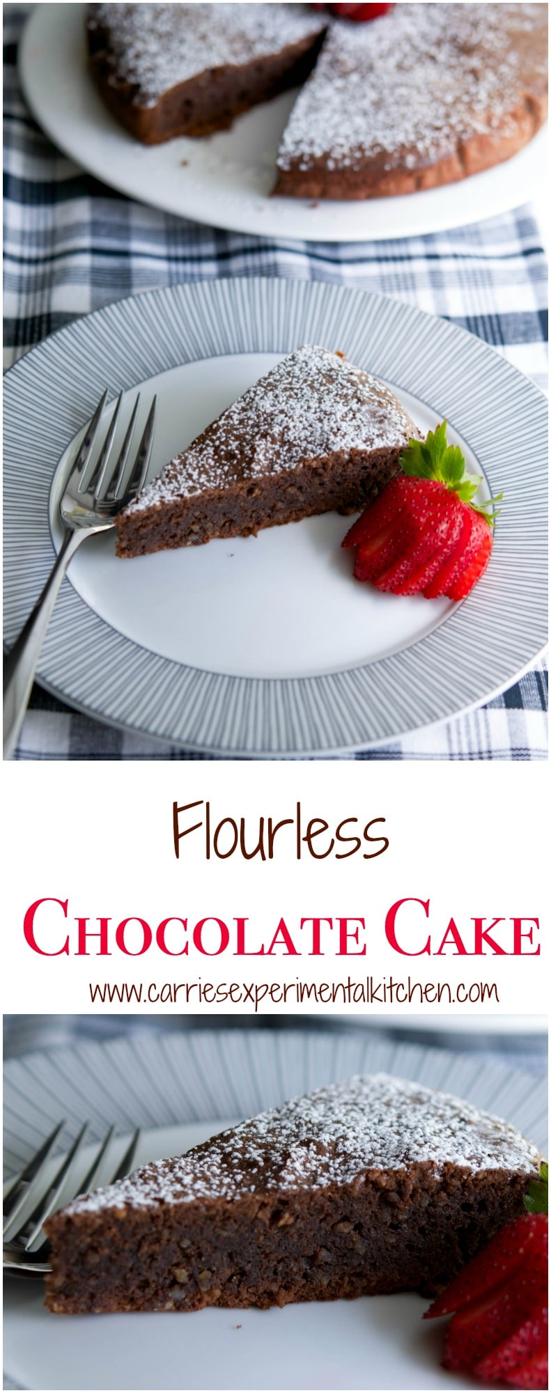 This Flourless Chocolate Cake is decadent and rich, just like a brownie and perfect for those following a gluten free lifestyle. #chocolate #cake #glutenfree #dessert