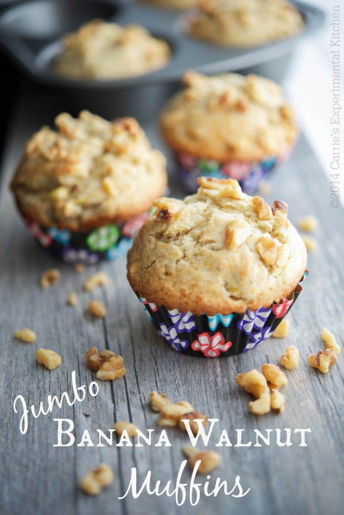 Jumbo Banana Walnut Muffins | Carrie's Experimental Kitchen #muffins #bananas #vegetarian