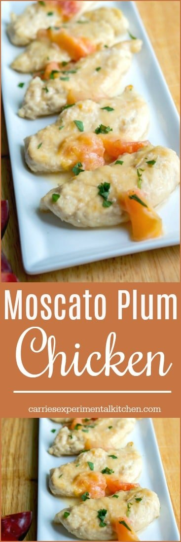 Chicken tenderloins lightly floured and sautéed in light olive oil; then topped with a Moscato wine and fresh juicy plum sauce. #chicken #30minutemeals #moscato #wine #plums