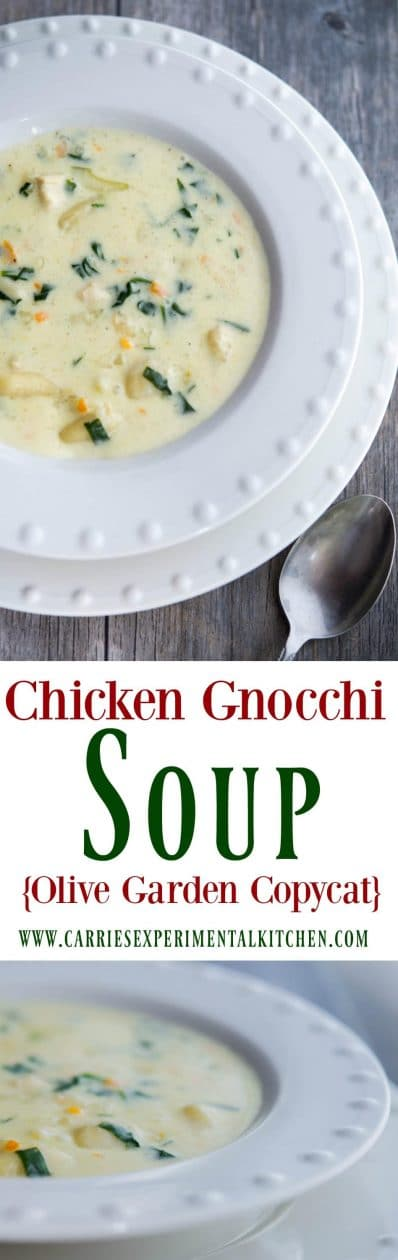 Enjoy one or your favorite restaurant copycat soups at home with my version of Olive Garden's Chicken Gnocchi Soup. #soup #copycatrecipe #chicken #pasta