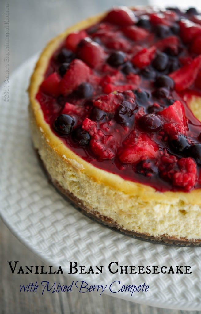Vanilla Bean Cheesecake with Mixed Berry Compote | Carrie's Experimental Kitchen #cheesecake #desserts