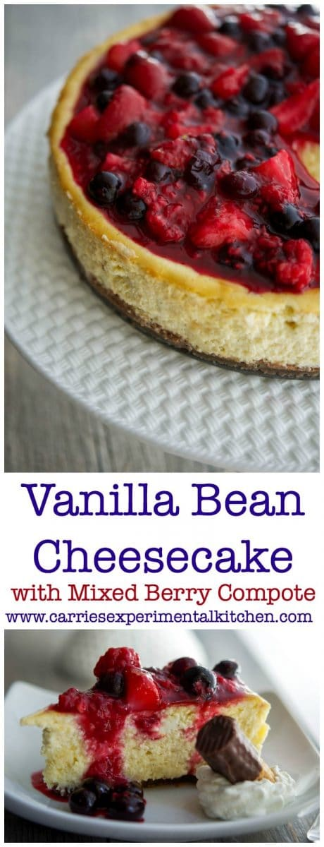 This Vanilla Bean Cheesecakemade with cream cheese, Madagascar vanilla extract, vanilla beans, eggs, and sugar; then topped with a compote of fresh raspberries, strawberries and blueberries. #dessert #cheesecake #berries