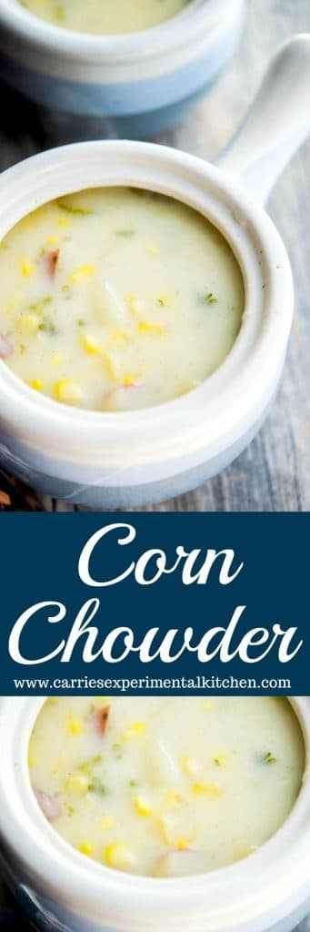 Corn Chowder made with fresh corn on the cob and chunks of potatoes in a creamy broth is delicious and satisfying.