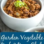 Hearty chili slow cooked with fresh garden vegetables, extra lean beef and beans.
